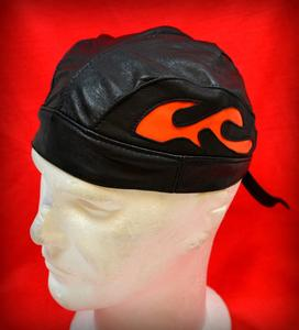 Bonnet / Bandanna / Zandana en Cuir - Flamme ORANGE