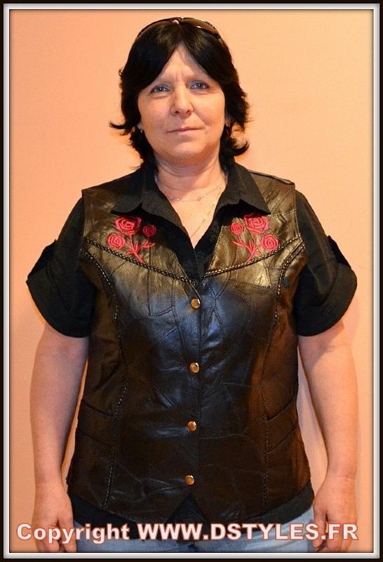 S M L XL XXL Gilet en cuir sans manche Femme Roses Brodées Biker country