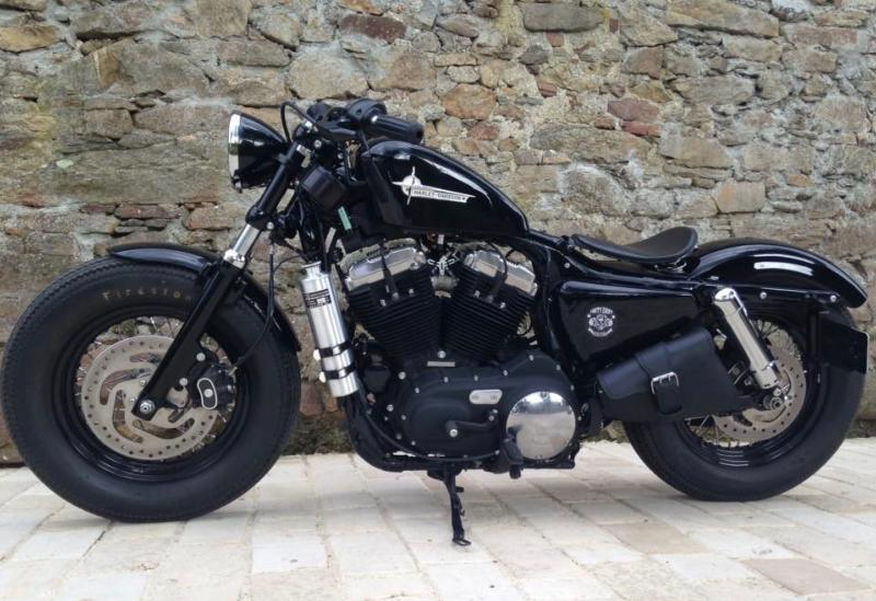 Harley Sportster Iron forty nighster Sacoche latérale en Cuir Big Fermeture