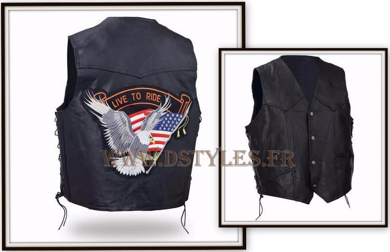 Gilet en cuir jacket  Aigle Live To Ride Grande taille ~ biker country