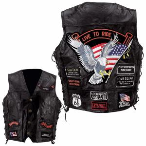 "Gilet en Cuir ""Aigle / Live To Ride"""