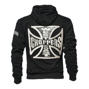 West Coast Choppers WCC: Veste Gilet zippé Noir Croix de Malte Cross Panel