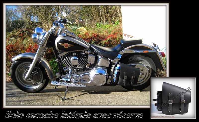 sacoche lat rale en cuir avec r serve essence pour moto custom. Black Bedroom Furniture Sets. Home Design Ideas