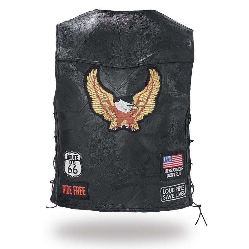 gilet en cuir patch aigle route 66 m 4xl neuf biker. Black Bedroom Furniture Sets. Home Design Ideas