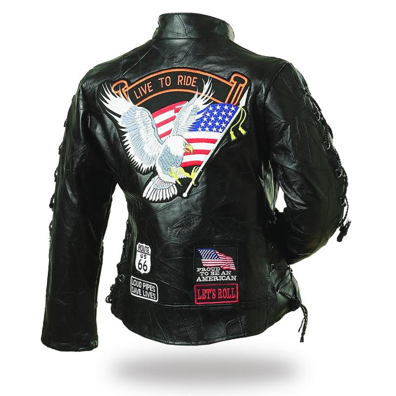 leather jacket woman aigle live to ride available s with 3xl biker harley custom ebay. Black Bedroom Furniture Sets. Home Design Ideas