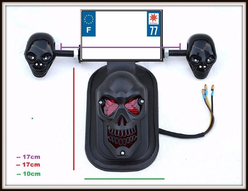 feu stop noir mat t te de mort skull support de plaquepour moto custom neuf ebay. Black Bedroom Furniture Sets. Home Design Ideas