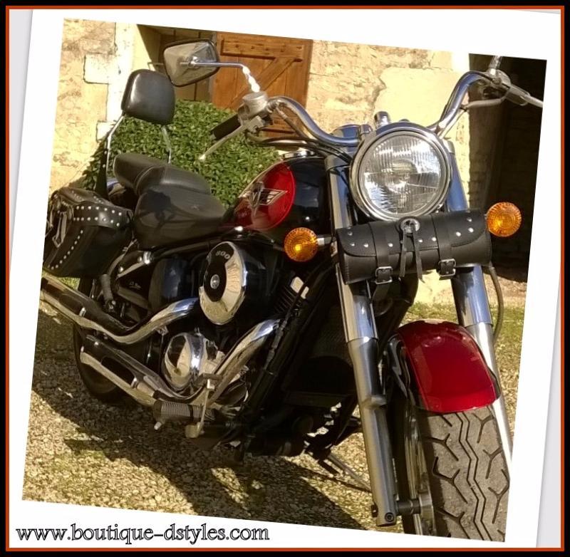 sac trousse a outil en cuir rond clous moto custom trike solex neuf ebay. Black Bedroom Furniture Sets. Home Design Ideas