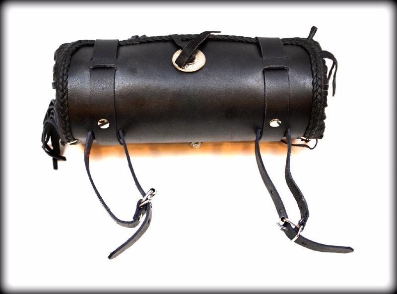 sacoche de fourche sac trousse outils cuir avec frange moto trike ebay. Black Bedroom Furniture Sets. Home Design Ideas