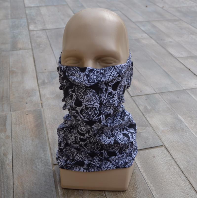 tour de cou de protection skull black and white id al. Black Bedroom Furniture Sets. Home Design Ideas
