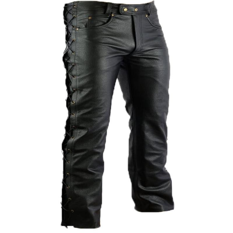 c9674e011fe Pantalon en cuir homme avec lacet sur les cotés ...
