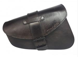 Made In France - Sacoche latérale en Cuir véritable Noir Antique Big Closing  pour HD Sportster (iron forty nighster XL)