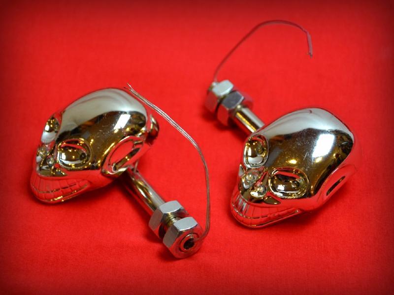 clignotants skull t te de mort chrome diodes moto custom quad trike harley ebay. Black Bedroom Furniture Sets. Home Design Ideas