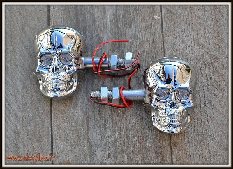1 paire de clignotants visage t te de mort skull chrome moto trike custom ebay. Black Bedroom Furniture Sets. Home Design Ideas