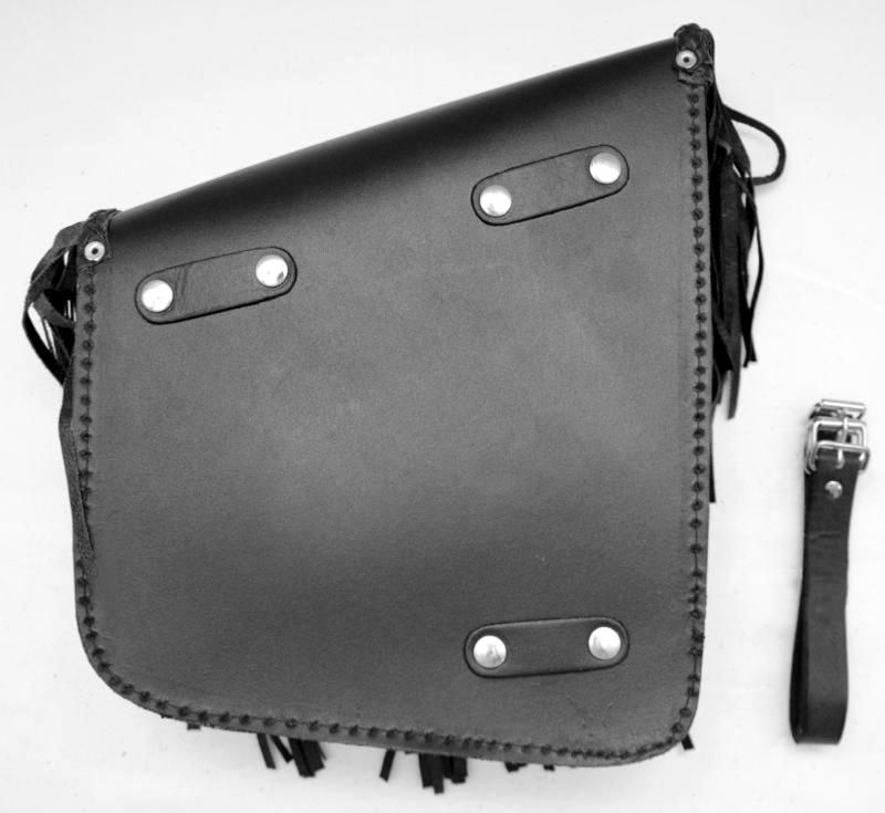 sacoche lat rale en cuir avec franges pour moto custom. Black Bedroom Furniture Sets. Home Design Ideas