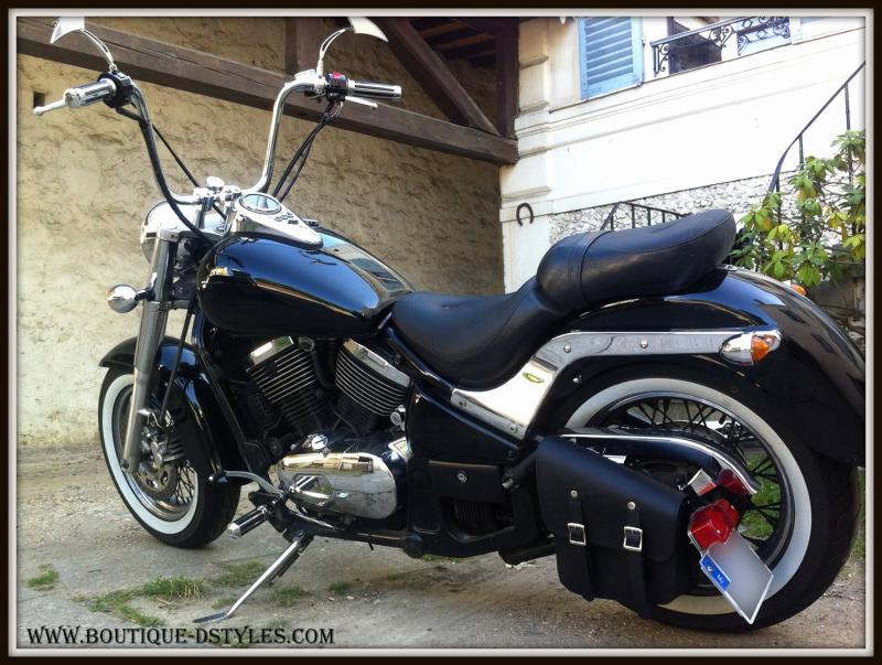 sacoche lat rale en cuir noir pour moto kustom. Black Bedroom Furniture Sets. Home Design Ideas