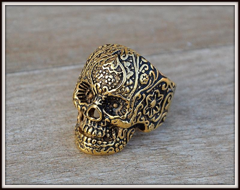 ring seal ring head death color gold size 8 13 gothic. Black Bedroom Furniture Sets. Home Design Ideas