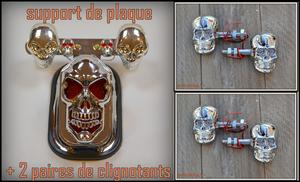 Support de plaque + 2 paires de clignotants Visage Skull Chrome